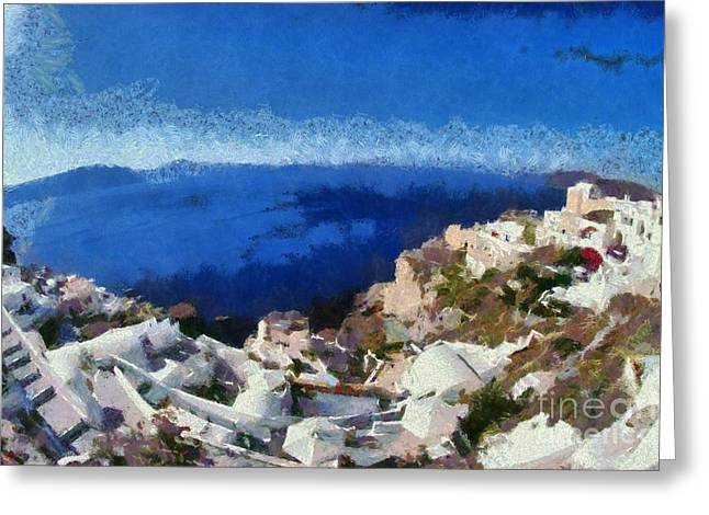 Greece Greeting Cards - Panoramic view of Oia town Greeting Card by George Atsametakis