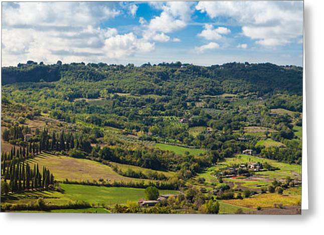 Orvieto Greeting Cards - Panoramic View of Orvieto in Italy Greeting Card by Susan  Schmitz