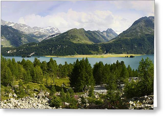 Graubunden Greeting Cards - Panoramic view of Sils Lake Greeting Card by Scatena Artwork