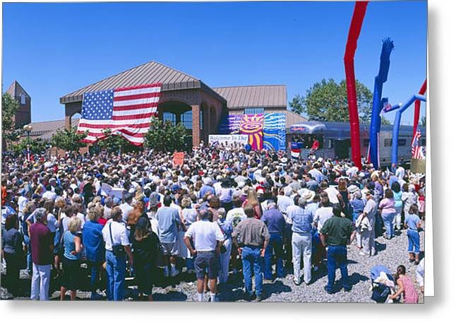 Panoramic View Of Spectators At Oxnard Greeting Card by Panoramic Images