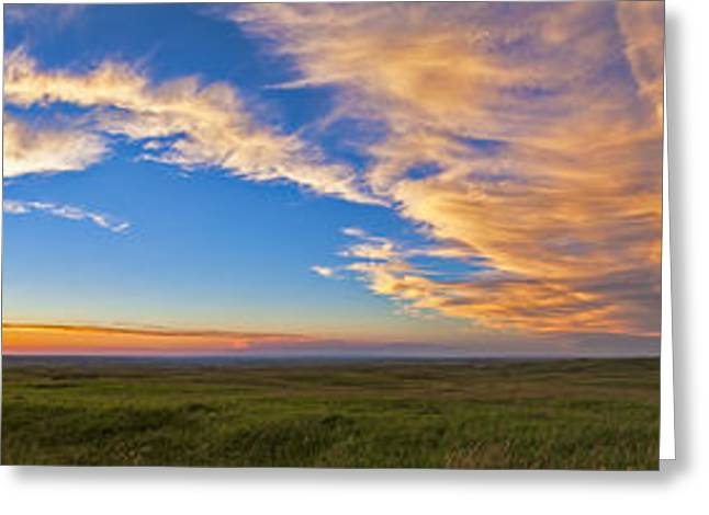 Cypress Hills Greeting Cards - Panoramic View Of Sunset At Reesor Greeting Card by Alan Dyer