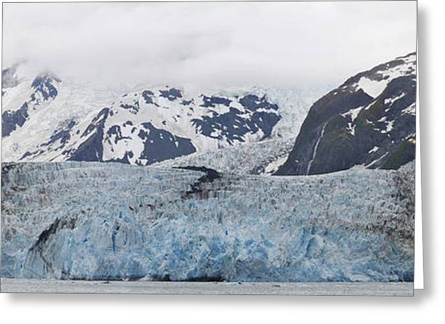 Surprise Greeting Cards - Panoramic View Of Surprise Glacier In Greeting Card by Daryl Pederson