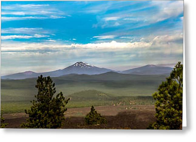 Haybale Greeting Cards - Panoramic View of the Cascades Greeting Card by Robert Bales