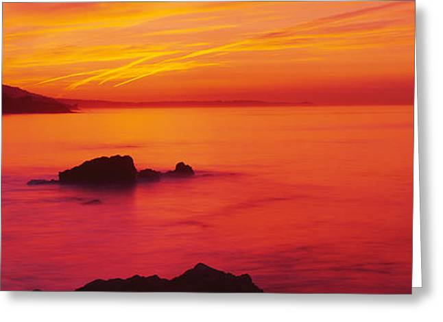 California Ocean Photography Greeting Cards - Panoramic View Of The Sea At Dusk, Leo Greeting Card by Panoramic Images