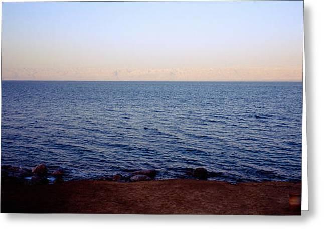 Jordan Photographs Greeting Cards - Panoramic View Of The Sea, Dead Sea Greeting Card by Panoramic Images