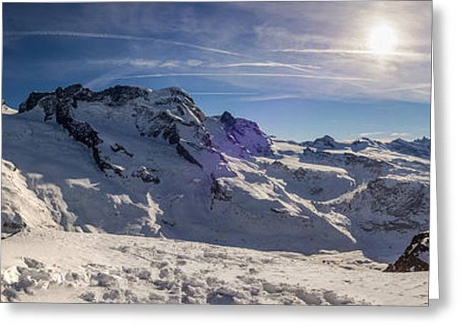 Snowy Day Greeting Cards - Panoramic view of the Swiss Alps Greeting Card by Stefano Politi Markovina