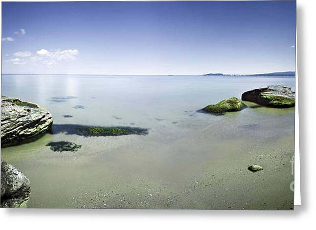 Reflections Of Sky In Water Greeting Cards - Panoramic View Of Tranquil Sea Greeting Card by Evgeny Kuklev