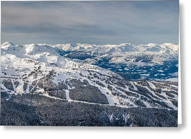 Winter Olympics Greeting Cards - Panoramic view of Whistler Mountain Greeting Card by Pierre Leclerc Photography