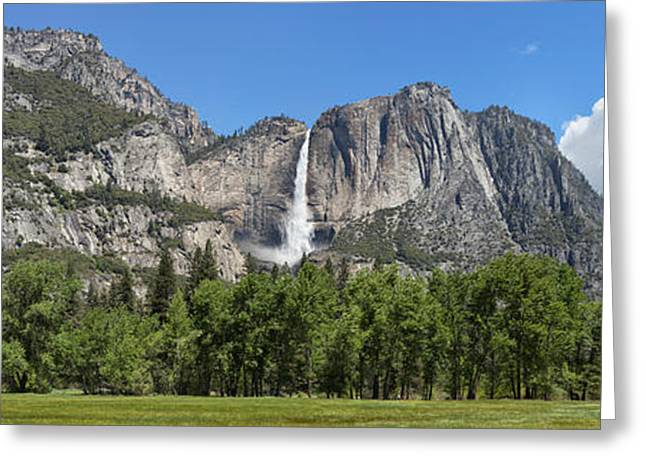 Californian Greeting Cards - Panoramic View Of Yosemite Falls Greeting Card by Panoramic Images