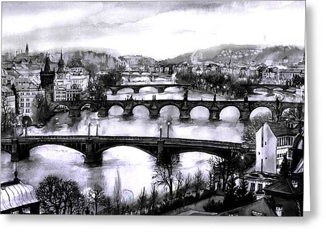 Kafka Digital Art Greeting Cards - Panoramic view to Prague Greeting Card by Dmitry Koptevskiy