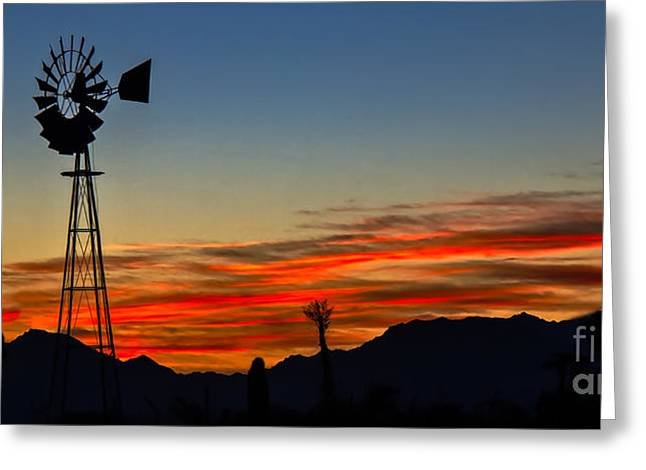 Haybale Photographs Greeting Cards - Panoramic Windmill Silhouette Greeting Card by Robert Bales