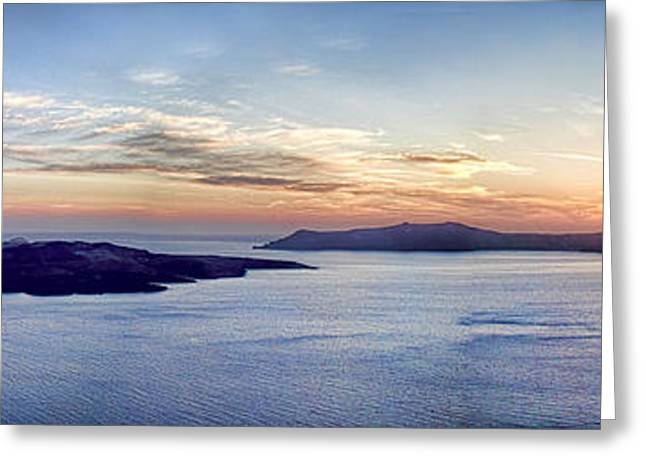 Santorini Greeting Cards - Panorama Santorini Caldera at Sunset Greeting Card by David Smith