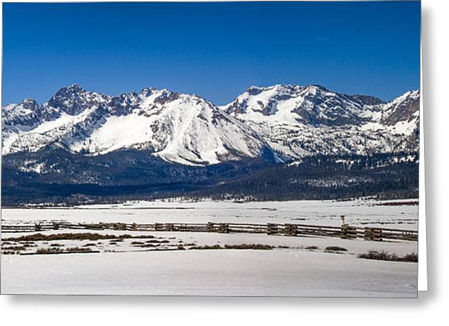 Haybale Greeting Cards - Panormaic Sawthooth Mountains Greeting Card by Robert Bales