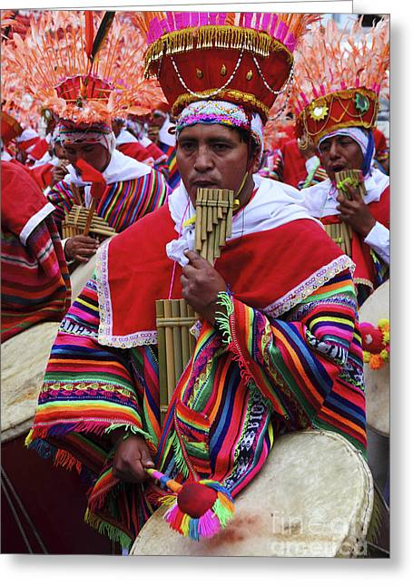 Panpipes Greeting Cards - Panpipe Musician Peru Greeting Card by James Brunker