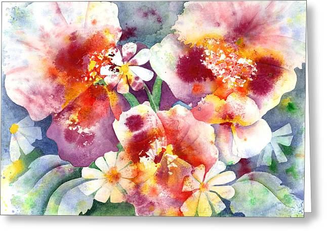 Recently Sold -  - Splashy Paintings Greeting Cards - Pansies and Daisies Greeting Card by Kathleen McGee