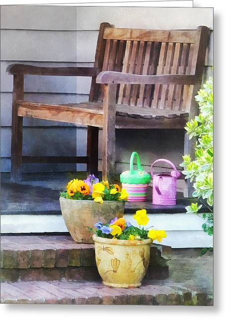 Pansy Greeting Cards - Pansies and Watering Cans on Steps Greeting Card by Susan Savad