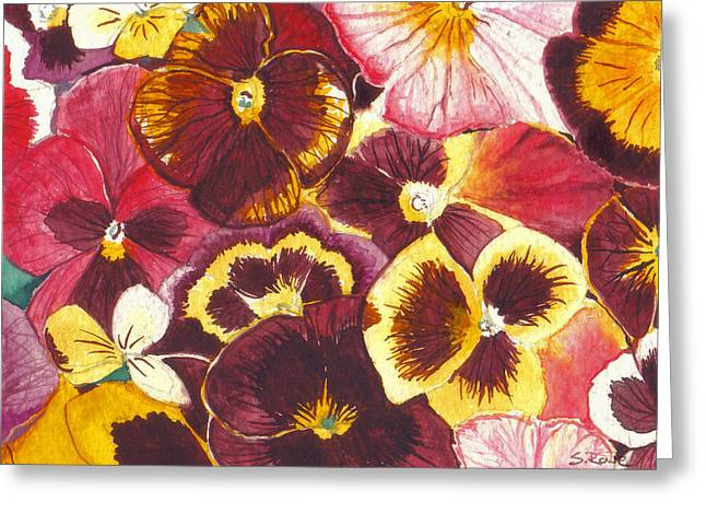 Pinks And Purple Petals Greeting Cards - Pansies Competing For Attention Greeting Card by Shawna  Rowe