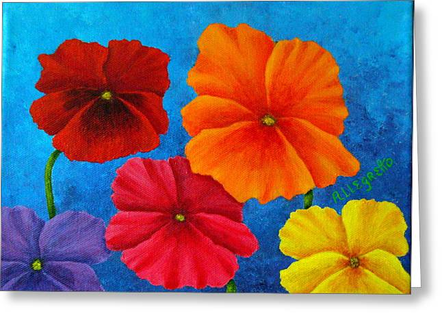 Allegretto Art Greeting Cards - Pansies For Rosalina Greeting Card by Pamela Allegretto