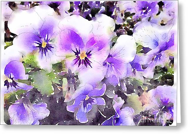 Close Focus Floral Greeting Cards - Pansies Watercolor Greeting Card by John Edwards