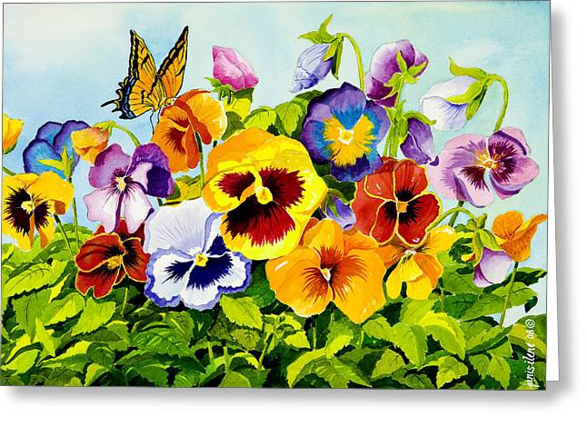 Realistic Paintings Greeting Cards - Pansies with Butterfly Greeting Card by Janis Grau