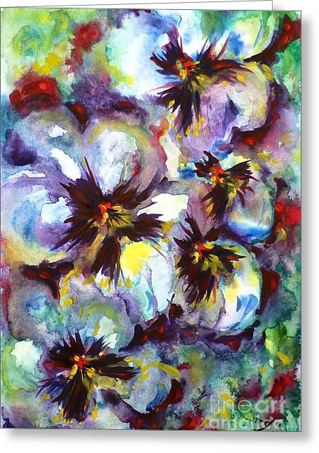 Johnny Jump Up Pansy Greeting Cards - Pansies Greeting Card by Zaira Dzhaubaeva