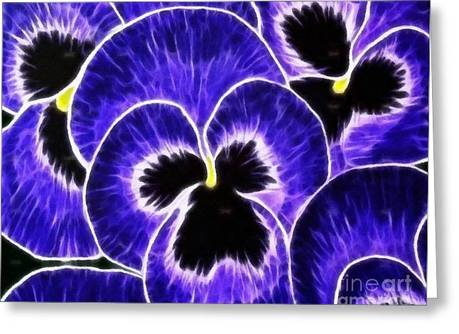 Johnny Jump Up Pansy Greeting Cards - Pansy Expressive Brushstrokes Greeting Card by Barbara Griffin