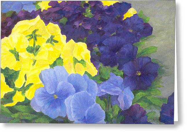 K Joann Russell Greeting Cards - Pansy Garden Bright Colorful Flowers Painting Pansies Floral Art Artist K. Joann Russell Greeting Card by K Joann Russell