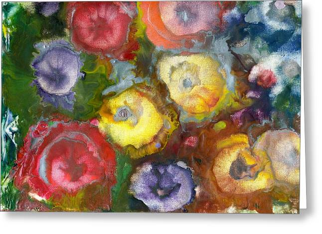Phthalo Blue Greeting Cards - Pansy Parade Greeting Card by Trish Tinsley