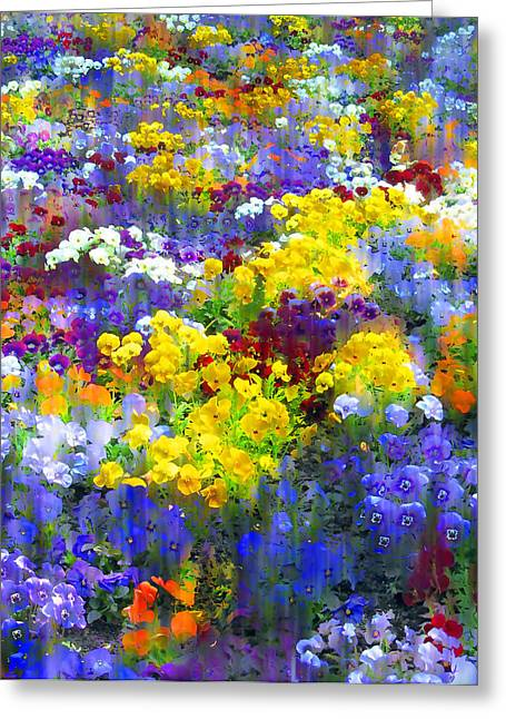 Pansy Party Greeting Card by Jessica Jenney