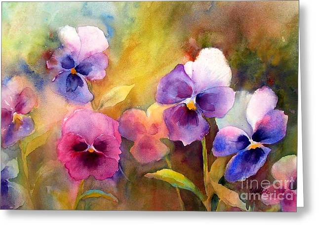 Wet In Wet Watercolor Greeting Cards - Pansy Party Greeting Card by Wendy Westlake
