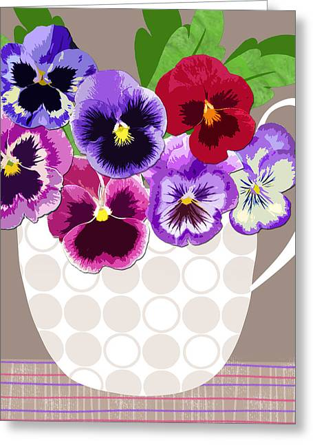 Val Lesiak Greeting Cards - Pansy Passion Greeting Card by Valerie   Drake Lesiak