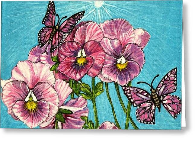 Sunlight On Flowers Greeting Cards - Pansy Pinwheels and the Magical Butterflies Greeting Card by Kimberlee  Baxter