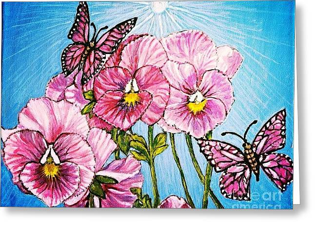 Enhanced Paintings Greeting Cards - Pansy Pinwheels and the Magical Butterflies with Blue Skies Greeting Card by Kimberlee  Baxter