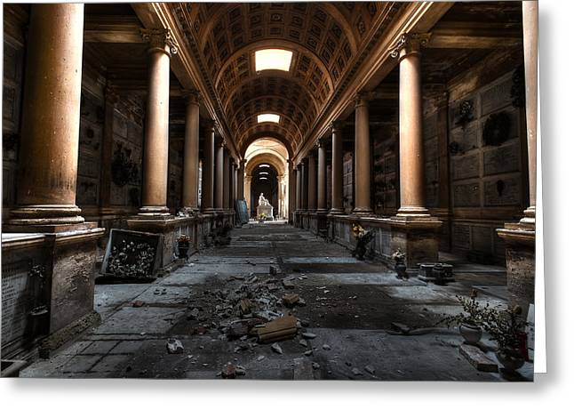 Decadence Greeting Cards - Panta Rei - The hidden alley in the cemetery Greeting Card by Tommaso Di Donato