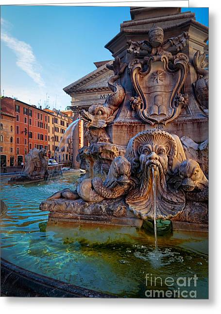 Pantheon Greeting Cards - Pantheon Fountain Greeting Card by Inge Johnsson