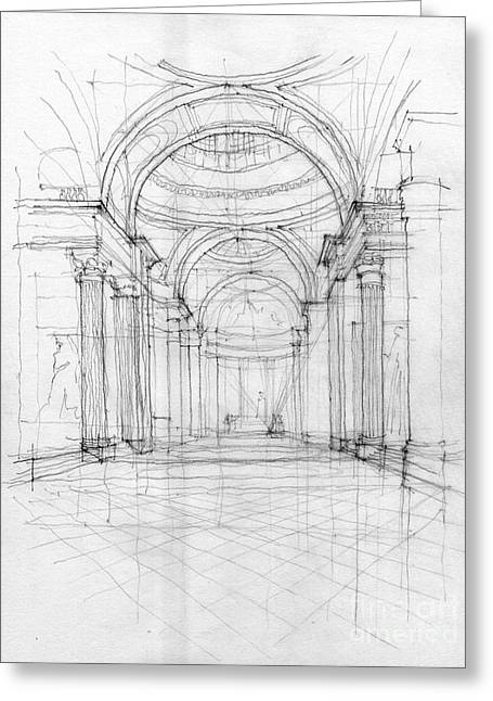 European work Drawings Greeting Cards - Pantheon interior Greeting Card by Peut Etre