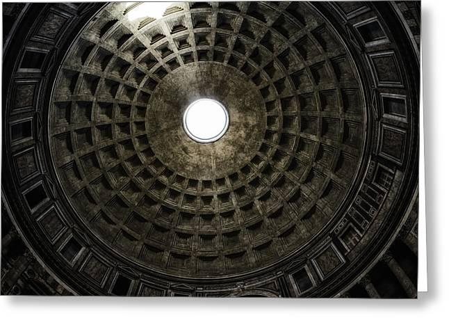 Oculus Greeting Cards - Pantheon Oculus Greeting Card by Joan Carroll