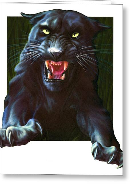 Strength Photographs Greeting Cards - Panther Attack Greeting Card by Andrew Farley