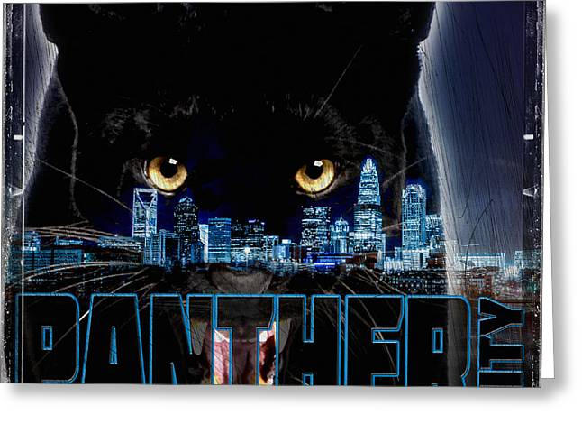 Charlotte Digital Art Greeting Cards - Panther City Greeting Card by Tim Kelley