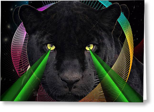 Tigris Greeting Cards - Panther Greeting Card by Mark Ashkenazi