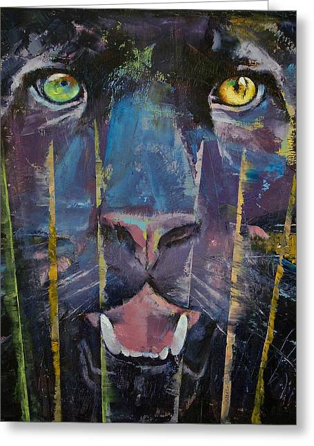 Trance Greeting Cards - Panther Greeting Card by Michael Creese