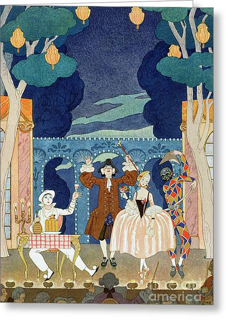 Pierrot Greeting Cards - Pantomime Stage Greeting Card by Georges Barbier