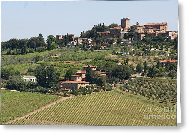 Chianti Greeting Cards - Panzano in Chianti Greeting Card by George Tocquigny
