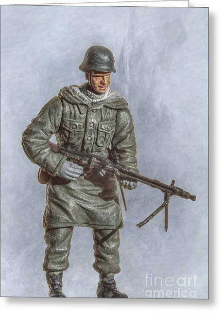 Soldier Of Fortune Greeting Cards - Panzer Grenadier with Machine Gun Greeting Card by Randy Steele