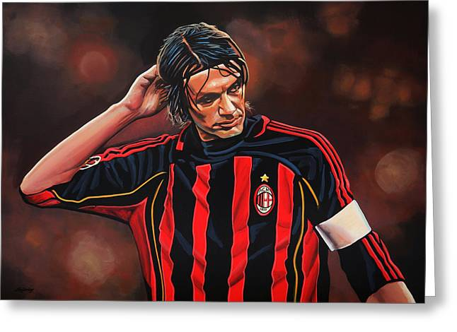 National Football League Paintings Greeting Cards - Paolo Maldini Greeting Card by Paul  Meijering