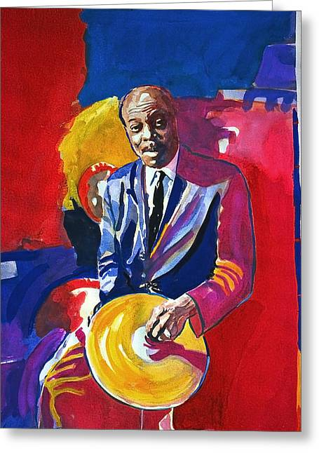 Drummer Greeting Cards - Papa Jo Jones  Greeting Card by David Lloyd Glover