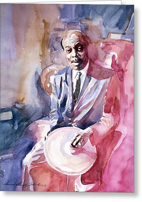 Drummer Paintings Greeting Cards - Papa Jo Jones Jazz Drummer Greeting Card by David Lloyd Glover