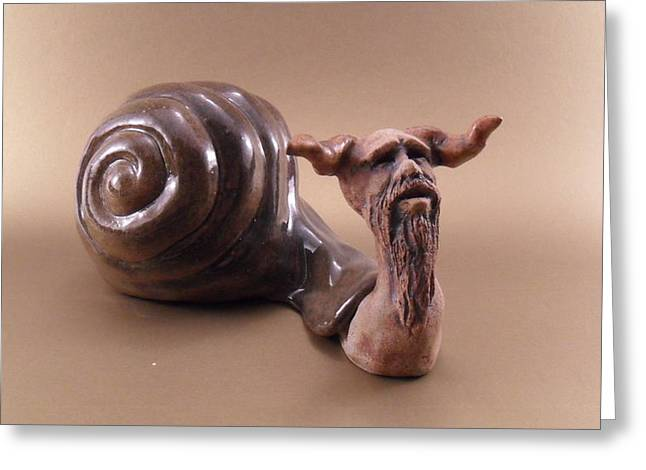 Stoneware Sculptures Greeting Cards - Papa Snail Greeting Card by Scott Russo