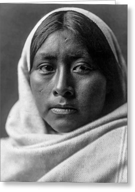Blanket Photographs Greeting Cards - Papago Indian woman circa 1907 Greeting Card by Aged Pixel