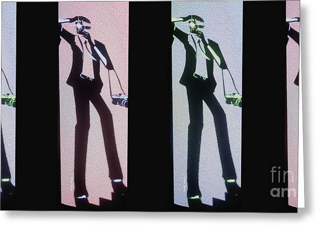 Tuxedo Greeting Cards - Paparazzi Greeting Card by Cheryl Young